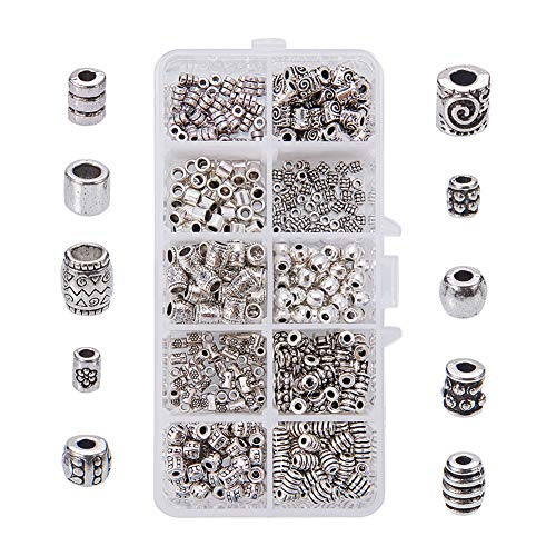 Alloy Beads - PandaHall Elite 1 Box 500 PCS 10 Style Antique Silver Column Spacer Beads Jewelry Findings Accessories for Bracelet Necklace Jewelry Making