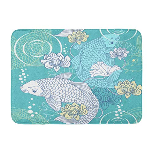 Pattern,Darkchocl Decorative Bath Mat Koi Pattern Japanese Chinese Fish Absorbent Non Slip 100% Flannel 17''L x 24''W for Bathroom Toilet Bath Tub Living - Woodcut Chinese