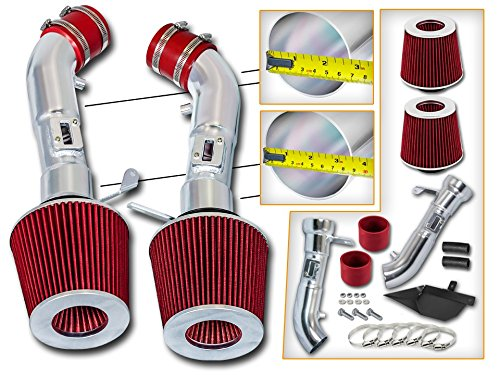 Cold Air Intake System with Heat Shield Kit + Filter Combo RED Compatible For 08-13 Infiniti G37 3.7L V6 / 09-14 Nissan 370Z