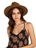 Janessa Leone Women's Packable Adriana Short Brimmed Fedora, Brown, Small