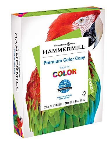 Hammermill Paper, Premium Color Copy Paper 8.5 x 11 Paper, Letter Size, 28lb Paper, 100 Bright, 1 Ream / 500 Sheets (102467R) Acid Free Paper - Laser Speed Desktop Printer High