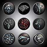 "Game of Thrones Magnets House Sigils GOT Symbols Set of 9 Plus Title Bonus Stark Lannister Baratheon Targaryen Tully Arryn Martell Greyjoy Tyrell TV series show (Magnet, 1"" (1 Inch))"