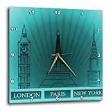 Cheap 3dRose London, Paris, and New York Historical Structures in TURQUOISE – Wall Clock, 13 by 13-Inch (dpp_101395_2)