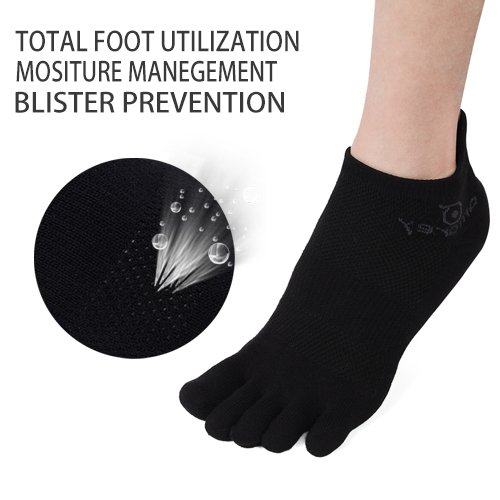 Mens No Show Toe Socks 6 Pairs Original Weight Low Cut Running Toe Socks 8-10.5 by AMAREY (Image #1)