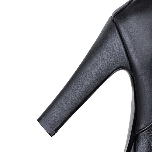 Black Zipper Closed Women's Boots Round Material Soft Lace Low AmoonyFashion Heels with Toe High top qg6STRg