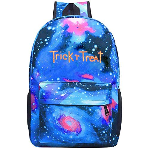 Trick-R-Treat Unisex School Bags Backpack Novelty Galaxy Daypack for Boy Girl Blue