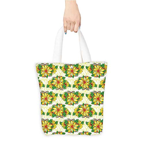 Casual Shopping Tote Bag Flower Daisy Petals Florets Buds Summer h Yellow Hunter Green Reusable 100% Eco Friendly W11 x H11 x D3 INCH