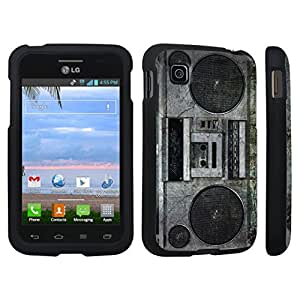 DuroCase ? LG Optimus Dynamic II L39C Hard Case Black - (Vintage Boombox)