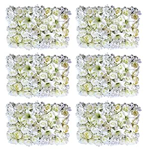 Prettyia 6pcs Artificial Rose Peony Lily Flower Wall Panels Wedding Venue Decor 101