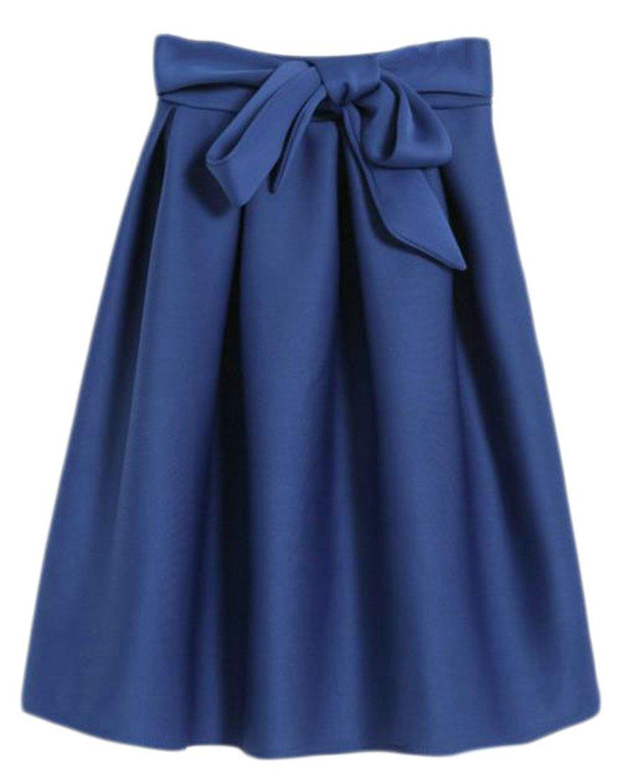 Cromoncent Womens Winter Warm High Waist Belt Bowknot A-Line Swing Skirt Jewelry Blue S
