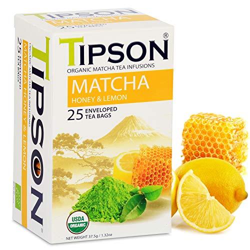 Tipson Organic Matcha Green Tea - Honey Lemon Flavor - 25 Tea Bag Packets - Antioxidant Benefits - Energy Supplement - Keto/Paleo