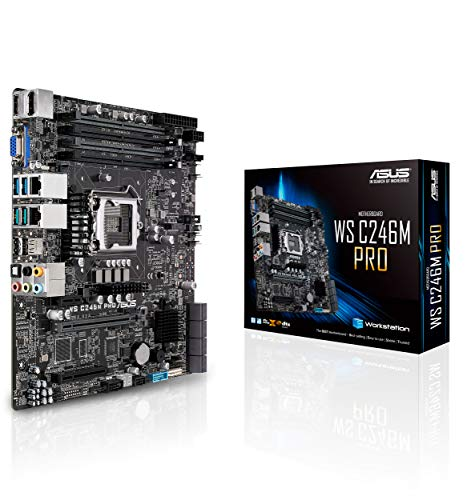 - ASUS LGA1151 ECC DDR4 M.2 C246 Server Workstation Micro ATX Motherboard for 8th Generation Intel Core Motherboards WS C246M PRO