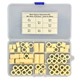 Electronics-Salon Plastic Round Spacer Assortment Kit. OD 14mm, ID 8.2mm, L 5 to 25mm, for M8 Screws. Length 5mm 8mm 10mm 12mm 15mm 18mm 20mm 25mm, Plastic ABS Standoff.