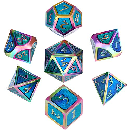 Hestya 7 Pieces Metal Dices Set DND Game Polyhedral Solid Metal D&D Dice Set with Storage Bag and Zinc Alloy with Enamel for Role Playing Game Dungeons and Dragons (Electrophoretic Colorful Cerulean)