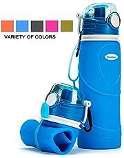 Kemier Botellas de Agua de Silicona Plegables–750ML,Calidad Médica Libre de BPA,Aprobado por FDA.Puede Enrollarse Hasta 26 oz,Botellas de Agua Plegables a Prueba de Fugas Para el Aire Libre y Deportes