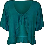 FAIRY TRENDS LTD Frill Tie Front Open 3/4 Sleeve Cardigan Ladies Novelty Casual Shrugs Plus Size
