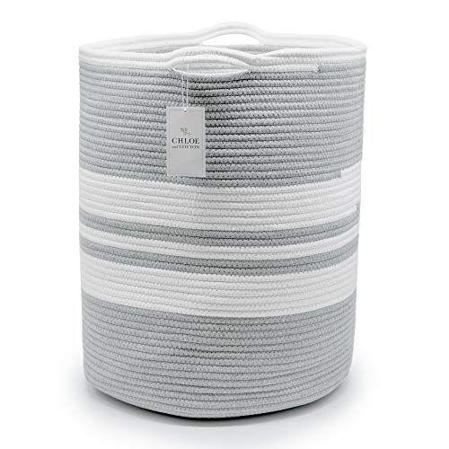 Chloe and Cotton Extra Large Tall Woven Rope Storage Basket 19 x 16 inch Gray White Handles | Decorative Laundry Clothes Hamper, Blanket, Towel, Baby Nursery Diaper, Toy Bin Cute Collapsible Organizer