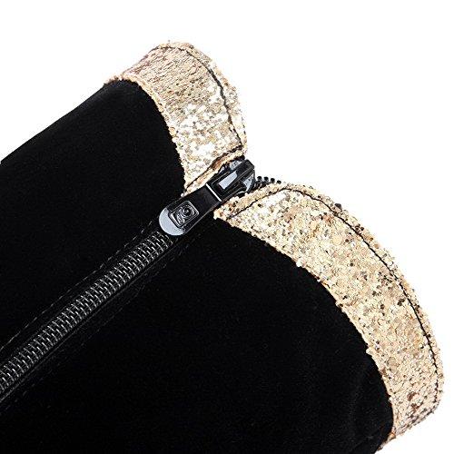 AgooLar Damen Mattglasbirne Hoch-Spitze Eingelegt Reißverschluss Hoher Absatz Stiefel Schwarz