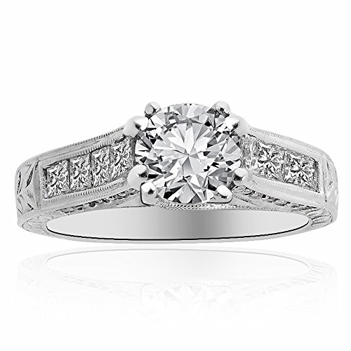 (Avital & Co. 2.07 Carat G-SI2 Round Diamond Antique Style Engagement Ring 18K White Gold)