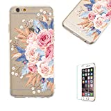 Funyye Crystal Transparent Case for iPhone 7/8 [Free Screen Protector],Stylish Colorful Flower Pattern for Cute Girls Soft Silicone Flexible Gel TPU Ultra Thin Case for iPhone 7/8