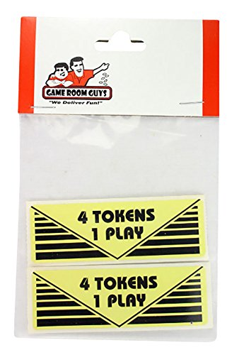 - Game Room Guys Arcade Pinball 4 Tokens 1 Play Sticker - Set of 2