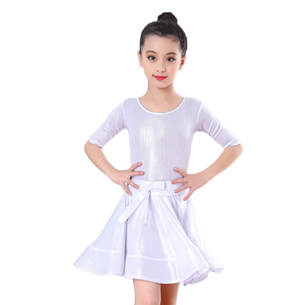 Blanc HUO FEI NIAO Costume Danse - Costume Danse Latine Costume Danse Jupe Manches (Couleur   Blanc, Taille   XXL) XX-Large