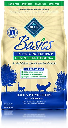 BLUE Basics Limited Ingredient Diet Adult Indoor Grain Free Duck & Potato  Dry Cat Food 5-lb