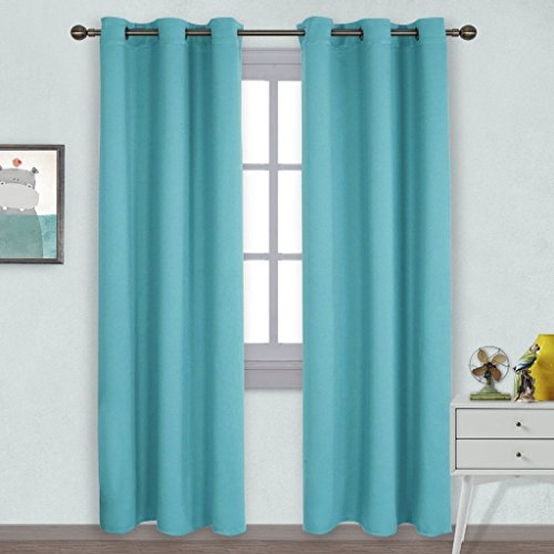 NICETOWN Window Treatment Thermal Insulated Solid Grommet Blackout Curtains / Drapes for Bedroom (Set of 2 Panels,42 by 84 - Blue Tiffany Black And