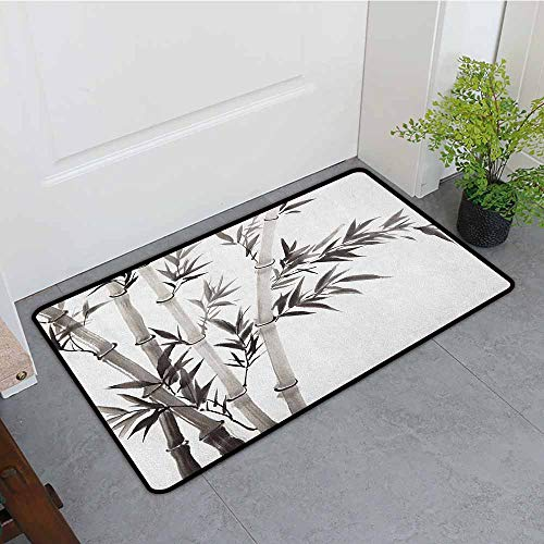 Anhounine Bamboo Interior Door mat Traditional Bamboo Leaves Meaning Wisdom Growth Renewal Unleash Your Power Artprint Breathability W35 x L47 Grey White ()