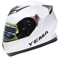 YEMA Helmet YM-829 Dual Viosr Full Face Motorcycle Helmet-White, Large by Lanxi Yema Motorcycle Fittings Co.,LTD