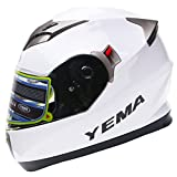 YEMA Helmet YM-829 Dual Viosr Full Face Motorcycle Helmet-White, Medium