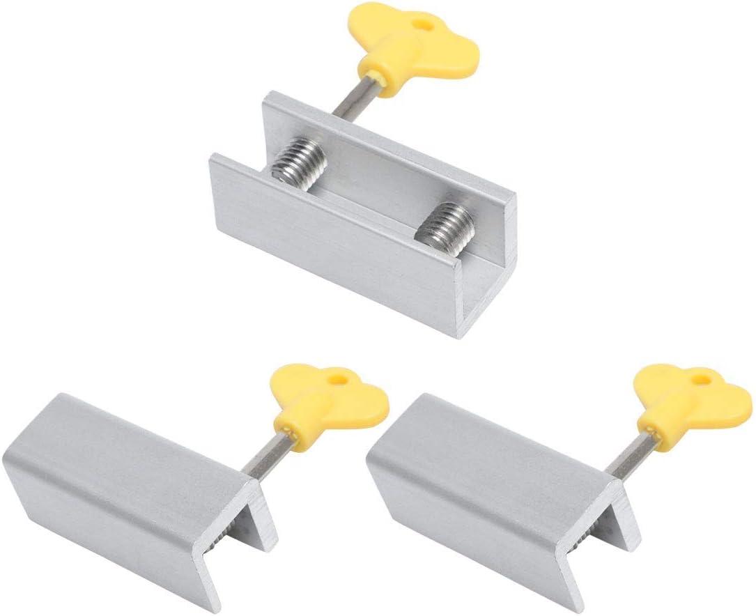 YeVhear - Juego de 3 cerraduras de ventana correderas de aleación de aluminio con doble tornillo para puerta ajustable con llave