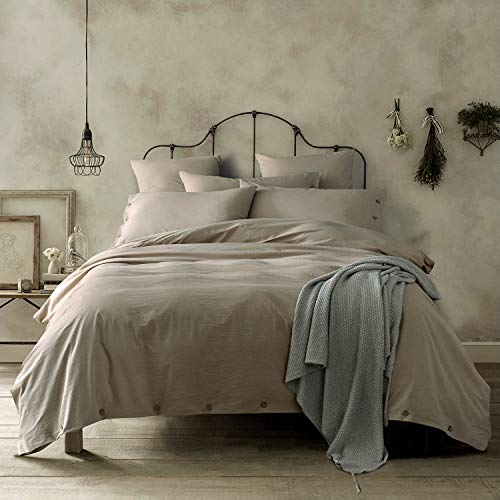 Doffapd Duvet Cover King, Washed Cotton Duvet Cover Set - 3 Piece (King, ()