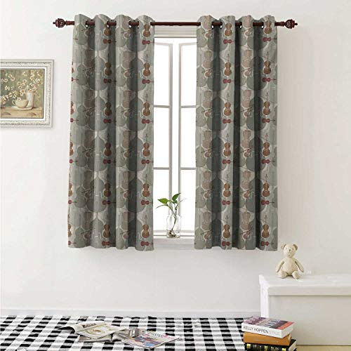(shenglv Music Customized Curtains Classical Instrumets String Quartet Violins Baroque Sonata Curtains for Kitchen Windows W63 x L45 Inch Pale Caramel Warm Taupe Reseda Green)