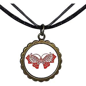 Chicforest Bronze Retro Style Cartoon paper-cut Butterfly Round Flower Pendant