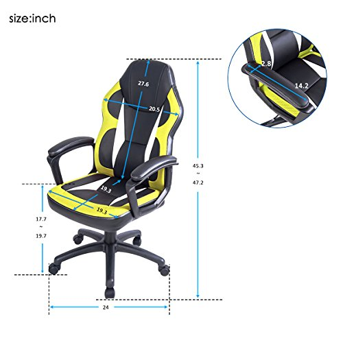 51auVPPzG7L - Merax-Racing-Gaming-Style-Task-Chair-for-Home-and-Office-PU-Leather-and-Mesh