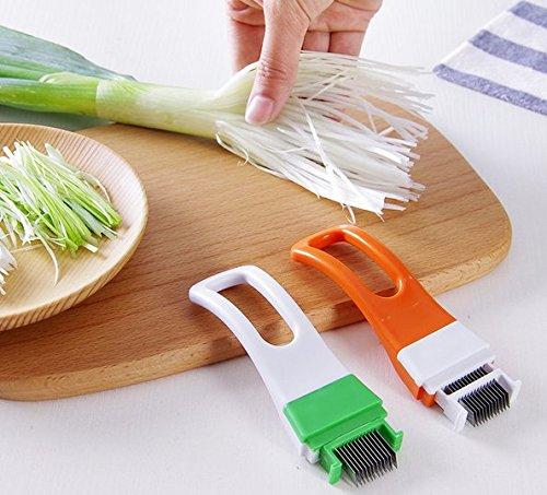 Astra shop 2Pcs Kitchen Tool Slice Cutlery Kitchen Onion Vegetable Cutter Sharp Scallion Cutter ()