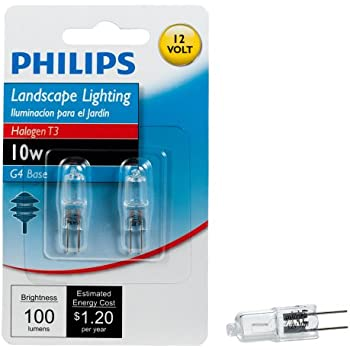 Philips 417212 Landscape Lighting 10-Watt T3 12-Volt Bi-Pin Base Light Bulb, 2-Pack