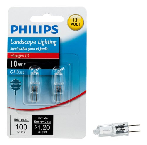 (Philips Halogen Landscape Lighting T3 12-Volt Light Bulb: 3000-Kelvin, 10-Watt, G4 Base, 2-Pack)