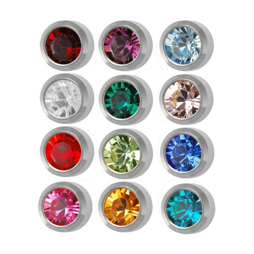 Studex Surgical Steel 4mm Regular Size Ear piercing Earrings studs 12 pair Mixed Colors White Metal