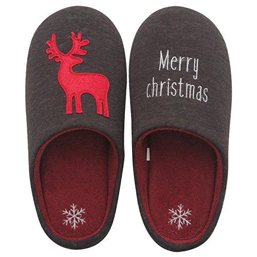 Fankou Cartoon di Natale caldo inverno paio di pantofole di cotone un soggiorno incantevole con una morbida antiscivolo maschio indoor ,L(42-43), verde