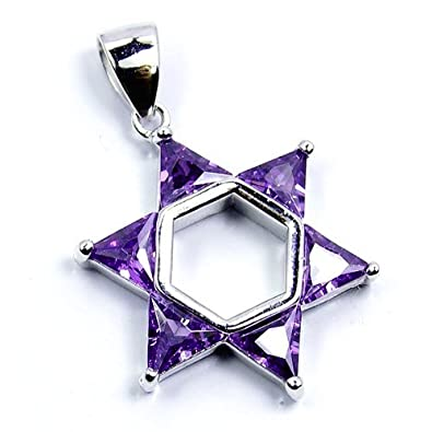 Jewish Star of David Sterling Silver Purple CZ Pendant
