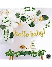 Sweet Baby Company Greenery Boho Baby Shower Decorations Neutral With Balloon Garland, Hello Baby Banner, Ivy Leaf Garland Vines Decoration, Fake Greenery Decor For Jungle, Safari, Woodland Backdrop Theme