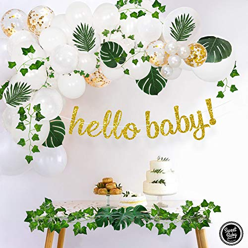 Gender Neutral Baby Shower Party Decorations (Sweet Baby Co. Boho Fake Greenery Baby Shower Decorations Neutral with Balloon Garland Arch Kit, Oh Baby Banner, Green Ivy Leaf Garland Vines Decoration Decor for Jungle Safari Woodland Backdrop)