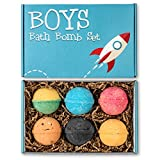 Boys Bath Bombs Set - 6 (5 oz) Lush Organic Bath Fizzies for Kids - Kid Approved Gift Box - Handmade in the USA Kid Safe Assorted Colors