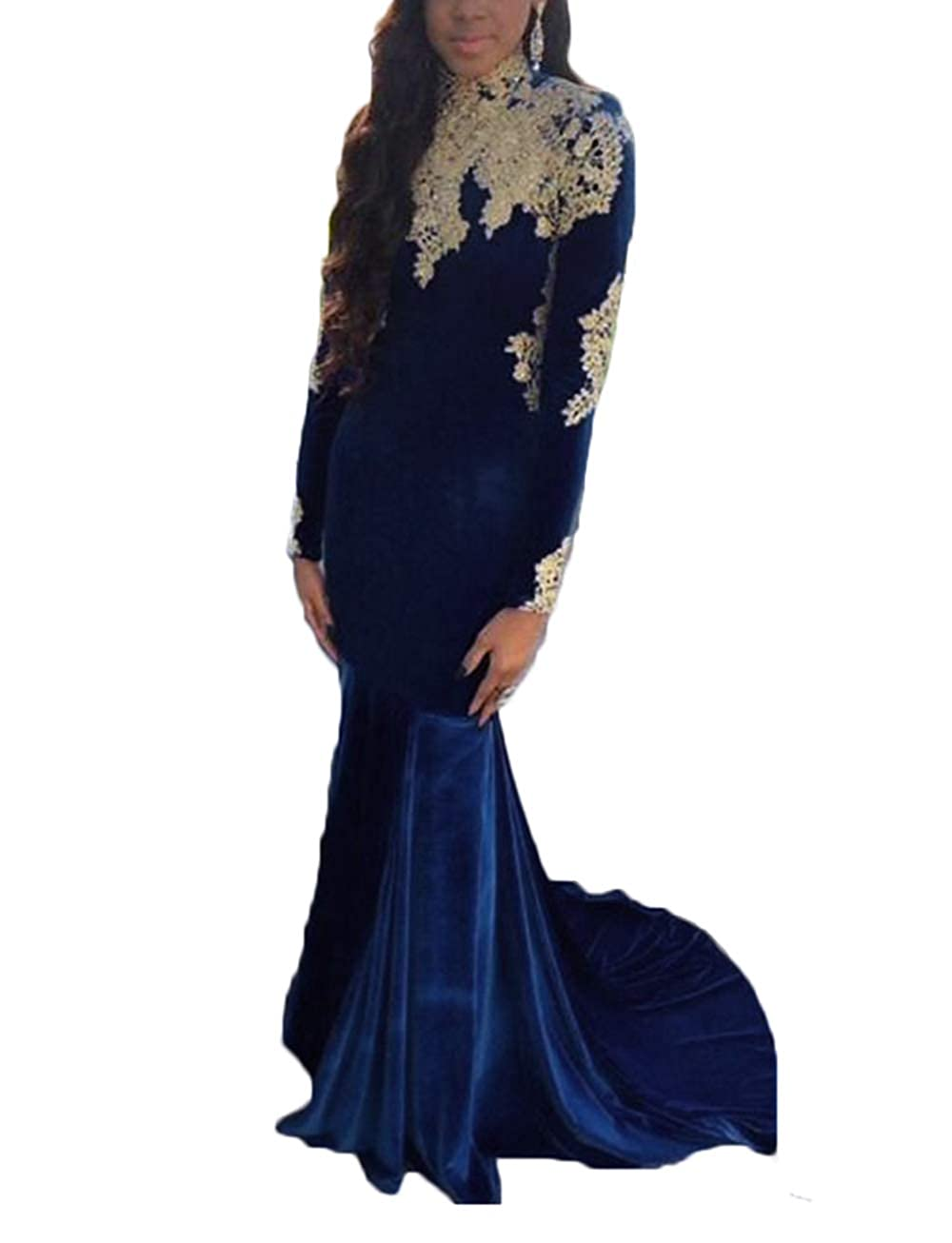 Navy bluee alilith.Z Sexy High Neck Velvet Prom Dresses 2019 Mermaid Appliques Party Gowns Formal Evening Dresses for Women with Sleeves
