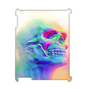 TRDJGOO 3D Effect Skull iPad 2,3,4 Cases, Case for iPad 3 Protector Cute Blooming Blue Rose - White