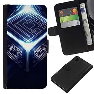 NEECELL GIFT forCITY // Billetera de cuero Caso Cubierta de protección Carcasa / Leather Wallet Case for Sony Xperia Z1 L39 // Resumen Cubo