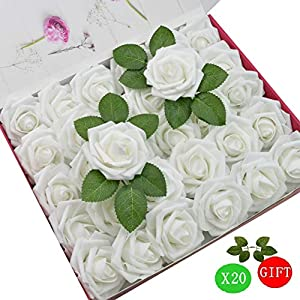 DerBlue 60pcs Artificial Roses Flowers Real Looking Fake Roses Artificial Foam Roses Decoration DIY for Wedding Bouquets,Arrangements Party Baby Shower Home Decorations-with Green Leaves(White) 3