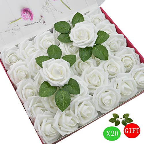 Baby Shower Bouquets - DerBlue 60pcs Artificial Roses Flowers Real Looking Fake Roses Artificial Foam Roses Decoration DIY for Wedding Bouquets,Arrangements Party Baby Shower Home Decorations-with Green Leaves(White)